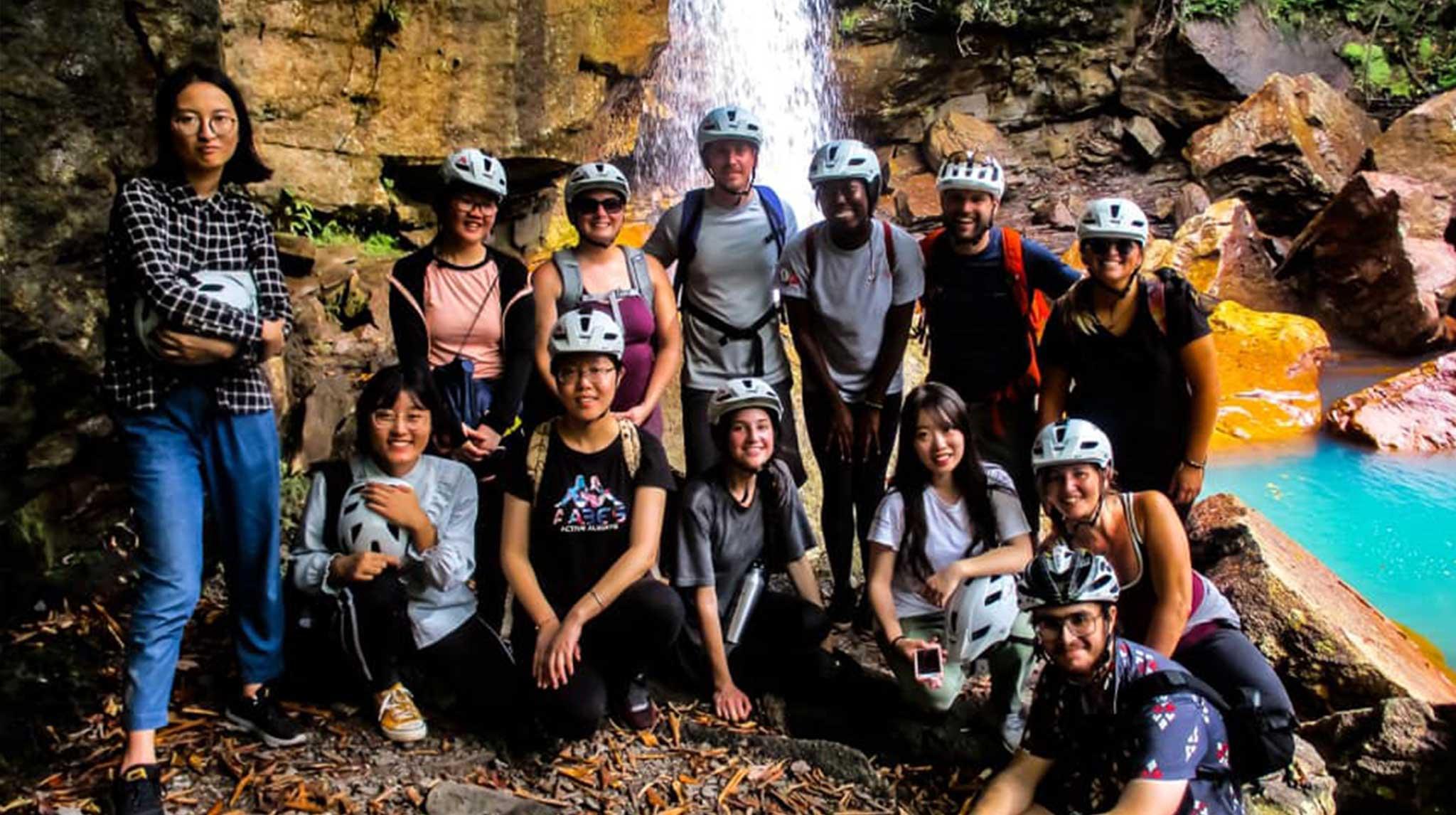 students on mountain biking trip
